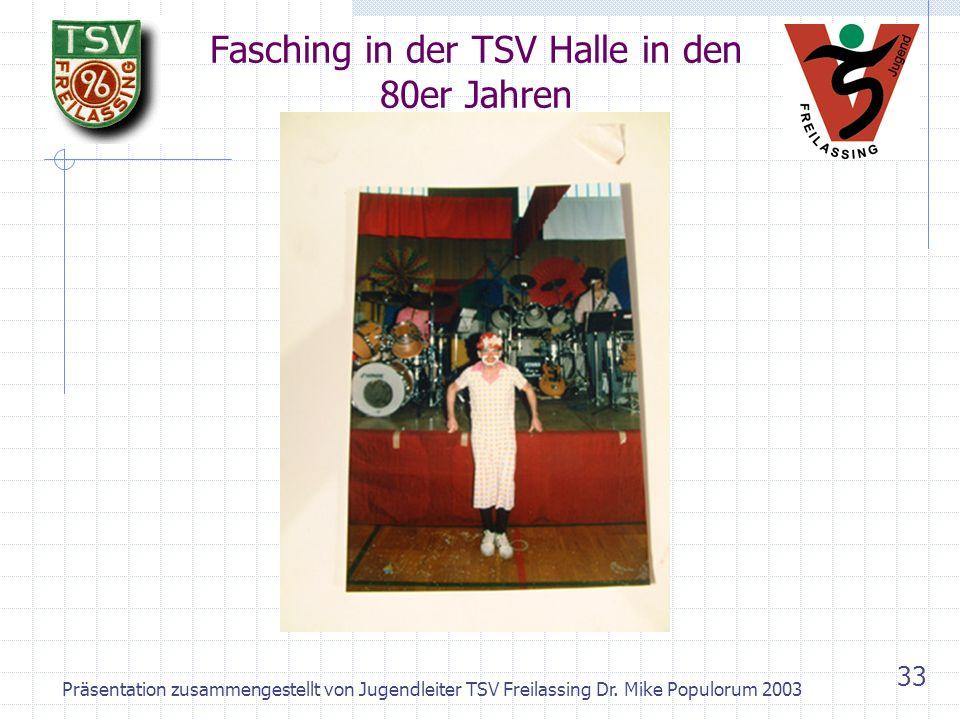 Präsentation zusammengestellt von Jugendleiter TSV Freilassing Dr. Mike Populorum 2003 32 TSV Freilassing heute - Aktivitäten Highlight im Fasching: S