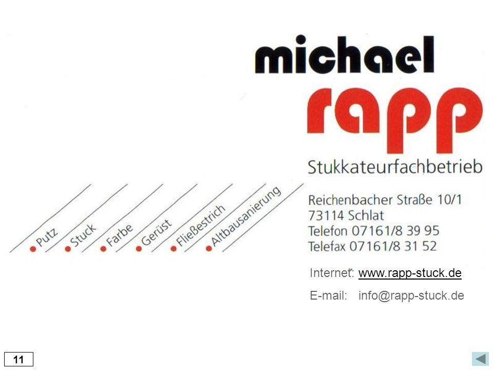11 Internet: www.rapp-stuck.dewww.rapp-stuck.de E-mail: info@rapp-stuck.de