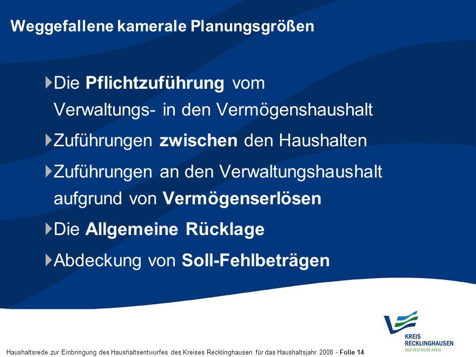 Haushaltsrede zur Einbringung des Haushaltsentwurfes des Kreises Recklinghausen für das Haushaltsjahr 2008 - Folie 14 Weggefallene kamerale Planungsgr