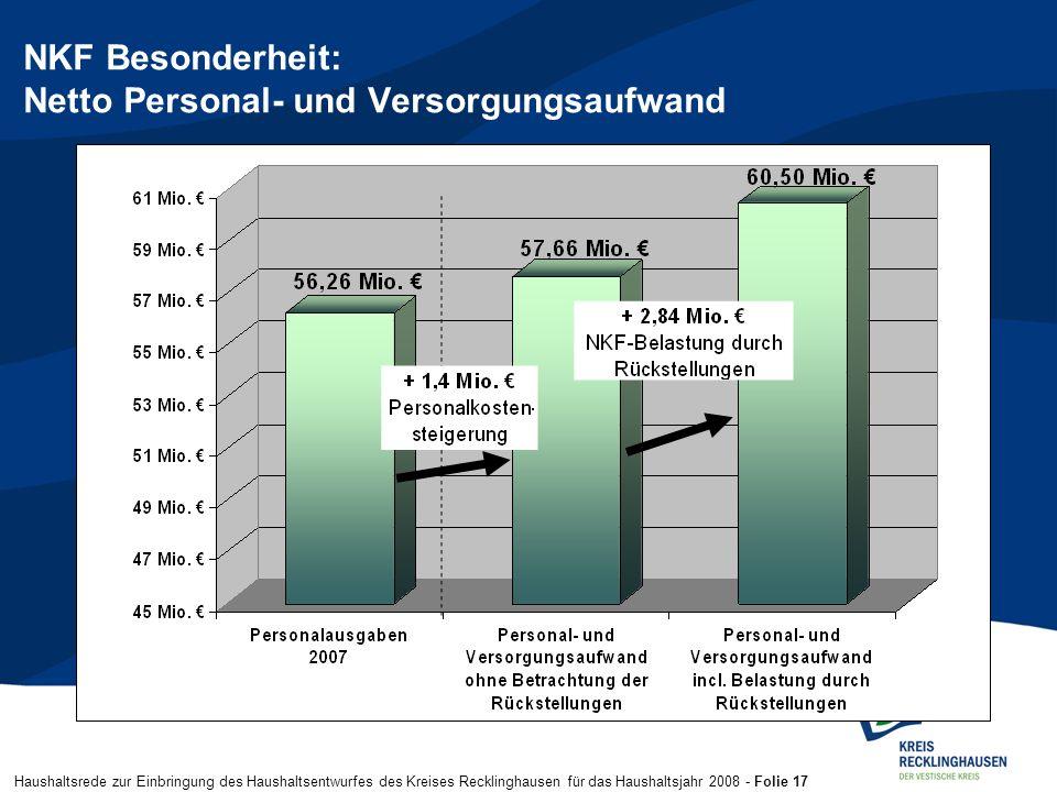 Haushaltsrede zur Einbringung des Haushaltsentwurfes des Kreises Recklinghausen für das Haushaltsjahr 2008 - Folie 17 NKF Besonderheit: Netto Personal