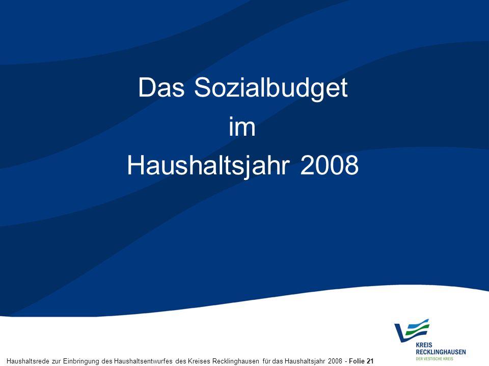 Haushaltsrede zur Einbringung des Haushaltsentwurfes des Kreises Recklinghausen für das Haushaltsjahr 2008 - Folie 21 Das Sozialbudget im Haushaltsjah