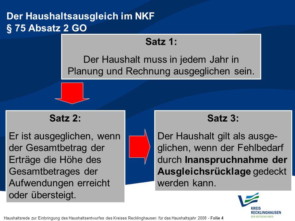 Haushaltsrede zur Einbringung des Haushaltsentwurfes des Kreises Recklinghausen für das Haushaltsjahr 2008 - Folie 4 Der Haushaltsausgleich im NKF § 7