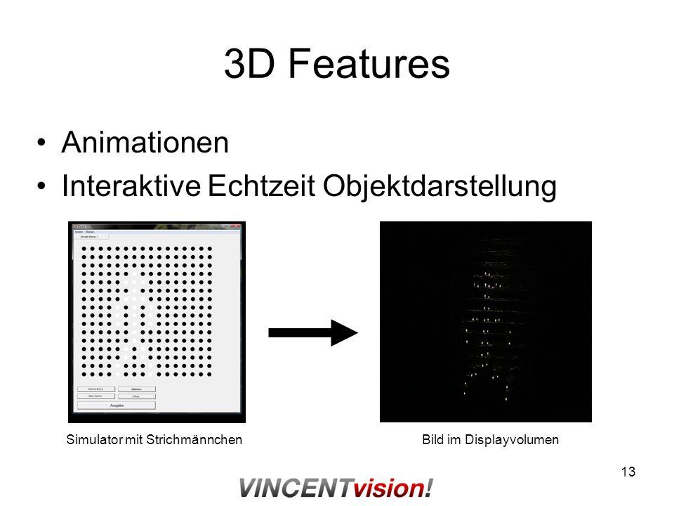 13 3D Features Animationen Interaktive Echtzeit Objektdarstellung Simulator mit StrichmännchenBild im Displayvolumen