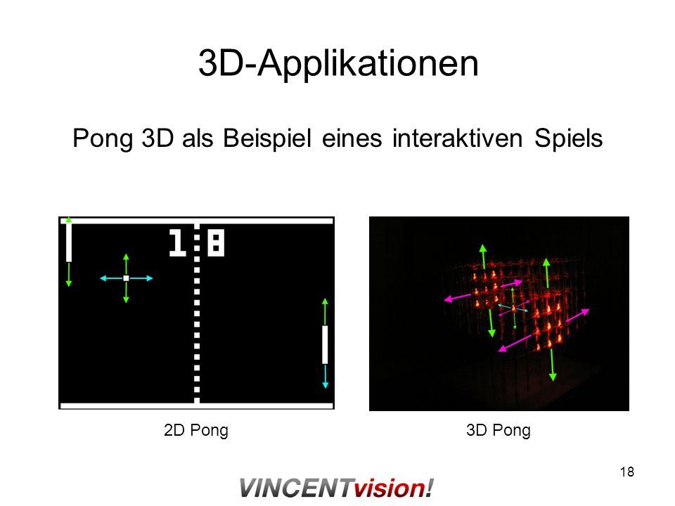 18 3D-Applikationen Pong 3D als Beispiel eines interaktiven Spiels 2D Pong3D Pong