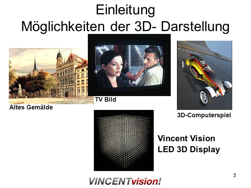 3 Einleitung Möglichkeiten der 3D- Darstellung Altes Gemälde TV Bild 3D-Computerspiel Vincent Vision LED 3D Display