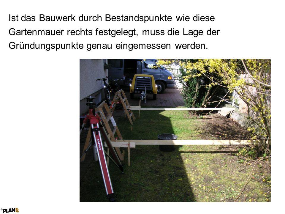 Ist das Bauwerk durch Bestandspunkte wie diese Gartenmauer rechts festgelegt, muss die Lage der Gründungspunkte genau eingemessen werden.