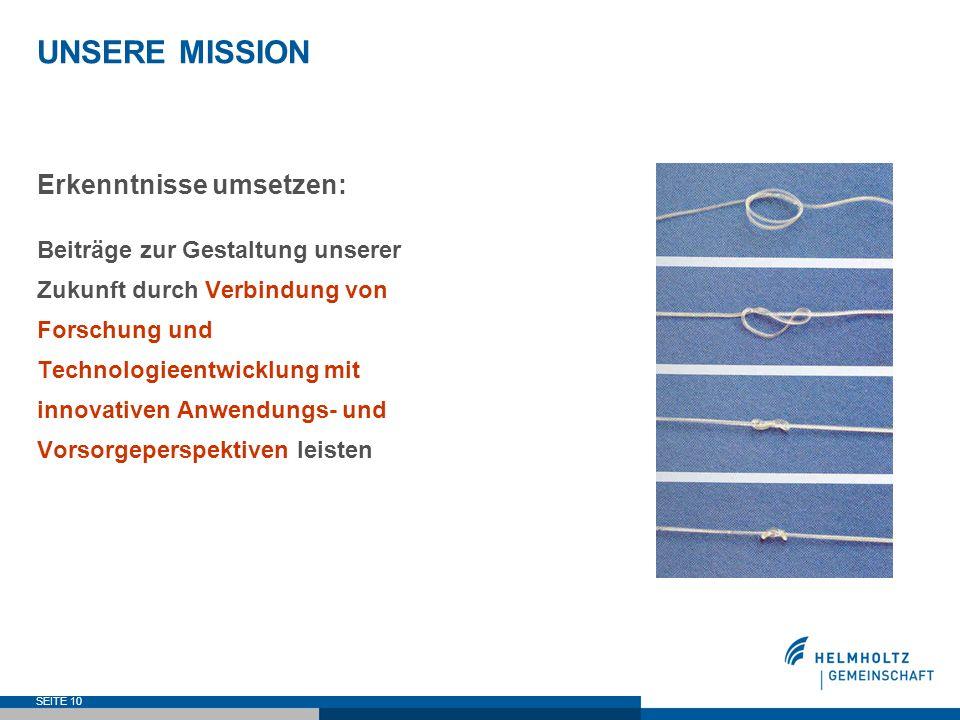 SEITE 10 UNSERE MISSION Erkenntnisse umsetzen: Beiträge zur Gestaltung unserer Zukunft durch Verbindung von Forschung und Technologieentwicklung mit i