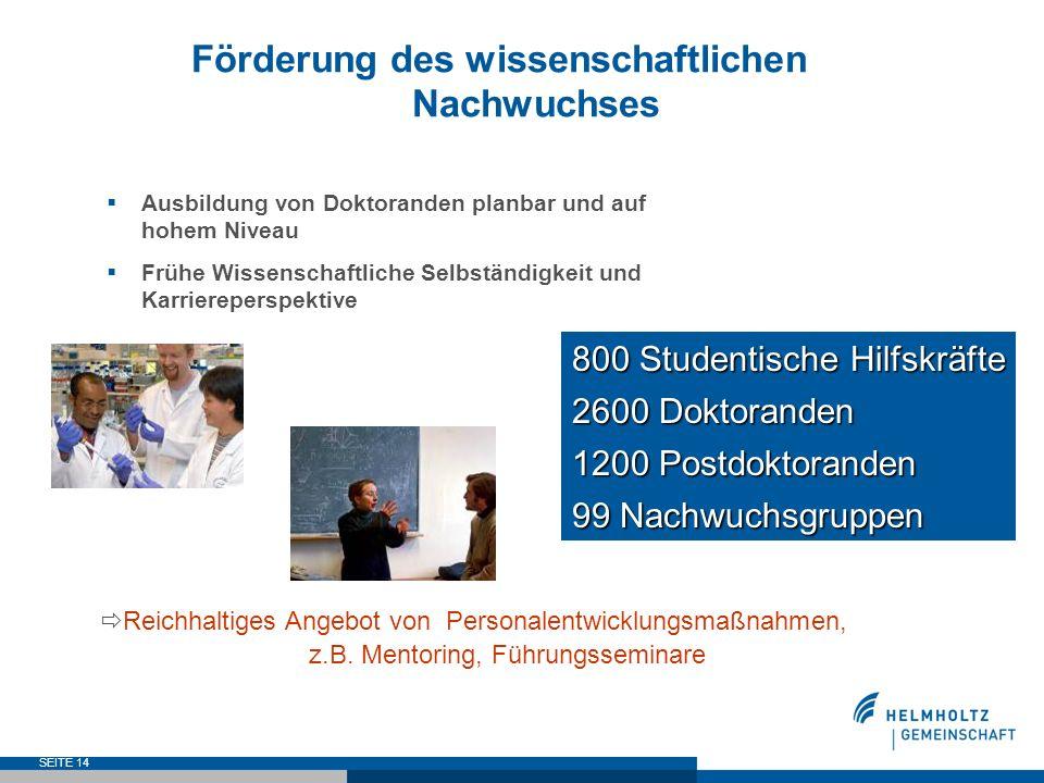 SEITE 14 Förderung des wissenschaftlichen Nachwuchses Ausbildung von Doktoranden planbar und auf hohem Niveau Frühe Wissenschaftliche Selbständigkeit