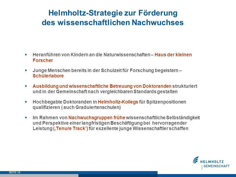 SEITE 15 Helmholtz-Strategie zur Förderung des wissenschaftlichen Nachwuchses Heranführen von Kindern an die Naturwissenschaften – Haus der kleinen Fo
