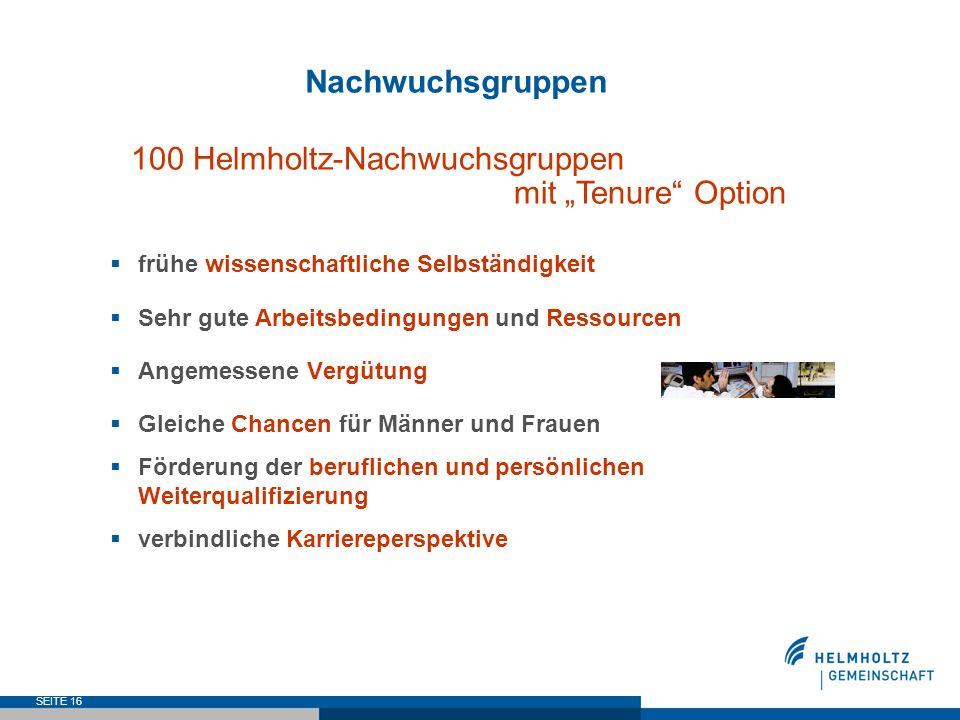 SEITE 16 Nachwuchsgruppen 100 Helmholtz-Nachwuchsgruppen mit Tenure Option frühe wissenschaftliche Selbständigkeit Sehr gute Arbeitsbedingungen und Re