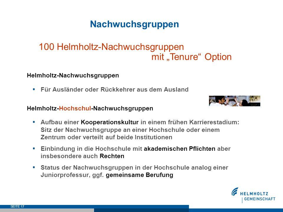 SEITE 17 Nachwuchsgruppen 100 Helmholtz-Nachwuchsgruppen mit Tenure Option Helmholtz-Nachwuchsgruppen Für Ausländer oder Rückkehrer aus dem Ausland He