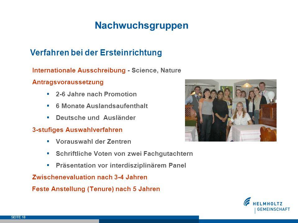 SEITE 18 Nachwuchsgruppen Verfahren bei der Ersteinrichtung Internationale Ausschreibung - Science, Nature Antragsvoraussetzung 2-6 Jahre nach Promoti