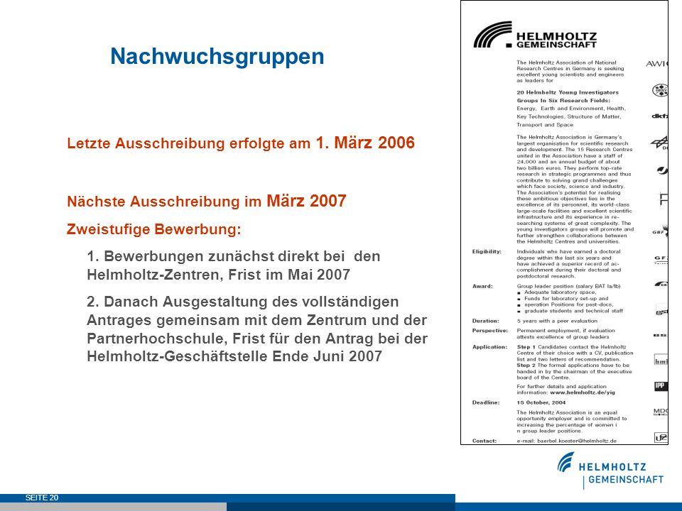 SEITE 20 Nachwuchsgruppen Letzte Ausschreibung erfolgte am 1. März 2006 Nächste Ausschreibung im März 2007 Zweistufige Bewerbung: 1. Bewerbungen zunäc