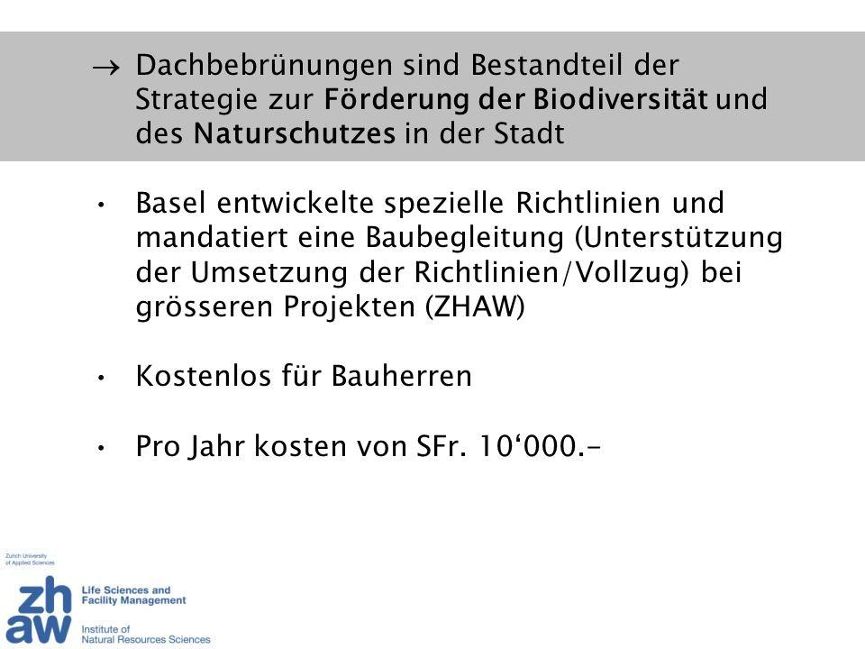 Dachbebrünungen sind Bestandteil der Strategie zur Förderung der Biodiversität und des Naturschutzes in der Stadt Basel entwickelte spezielle Richtlin