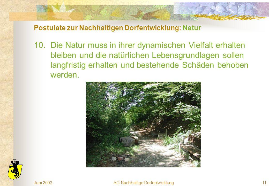 Juni 2003AG Nachhaltige Dorfentwicklung11 Postulate zur Nachhaltigen Dorfentwicklung: Natur 10.Die Natur muss in ihrer dynamischen Vielfalt erhalten bleiben und die natürlichen Lebensgrundlagen sollen langfristig erhalten und bestehende Schäden behoben werden.