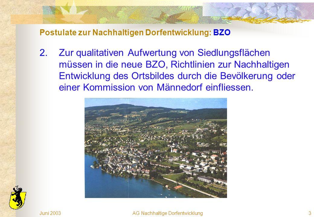 Juni 2003AG Nachhaltige Dorfentwicklung3 Postulate zur Nachhaltigen Dorfentwicklung: BZO 2.Zur qualitativen Aufwertung von Siedlungsflächen müssen in die neue BZO, Richtlinien zur Nachhaltigen Entwicklung des Ortsbildes durch die Bevölkerung oder einer Kommission von Männedorf einfliessen.