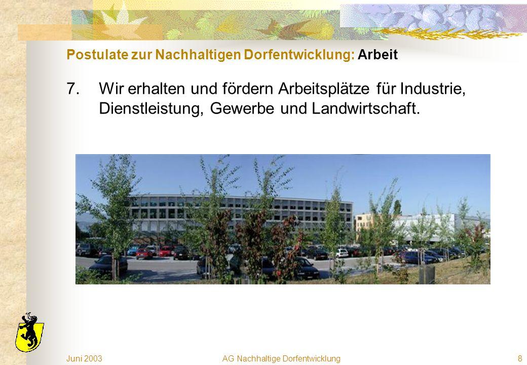 Juni 2003AG Nachhaltige Dorfentwicklung8 Postulate zur Nachhaltigen Dorfentwicklung: Arbeit 7.Wir erhalten und fördern Arbeitsplätze für Industrie, Dienstleistung, Gewerbe und Landwirtschaft.