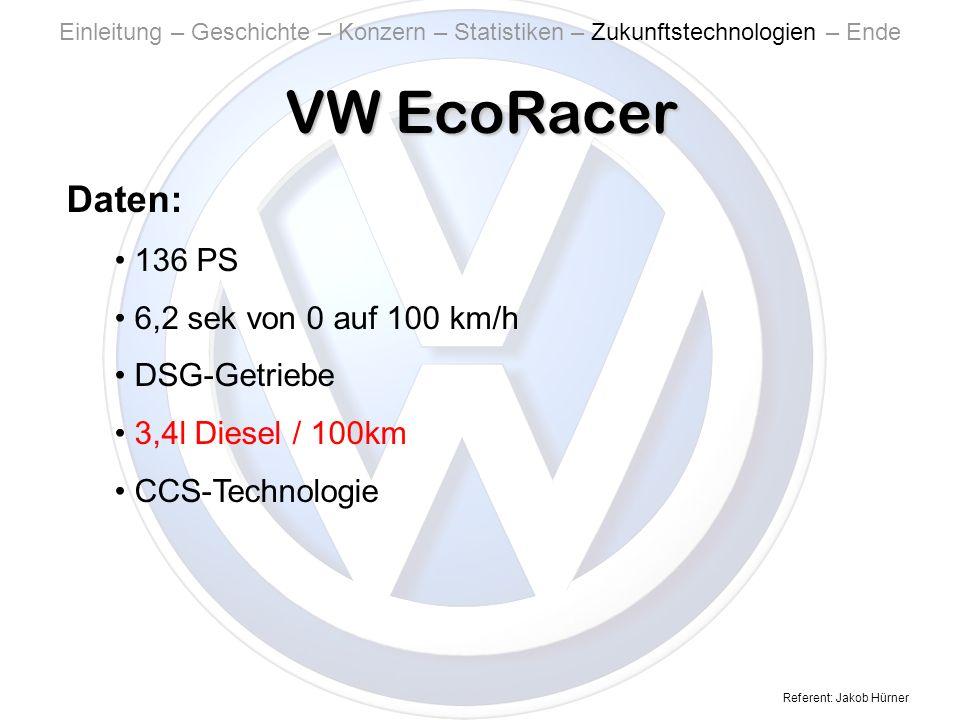 Referent: Jakob Hürner VW EcoRacer Einleitung – Geschichte – Konzern – Statistiken – Zukunftstechnologien – Ende Daten: 136 PS 6,2 sek von 0 auf 100 km/h DSG-Getriebe 3,4l Diesel / 100km CCS-Technologie