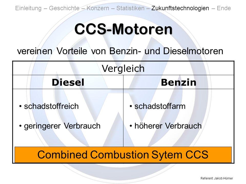 Referent: Jakob Hürner CCS-Motoren Einleitung – Geschichte – Konzern – Statistiken – Zukunftstechnologien – Ende vereinen Vorteile von Benzin- und Dieselmotoren Vergleich DieselBenzin schadstoffreich geringerer Verbrauch schadstoffarm höherer Verbrauch Combined Combustion Sytem CCS