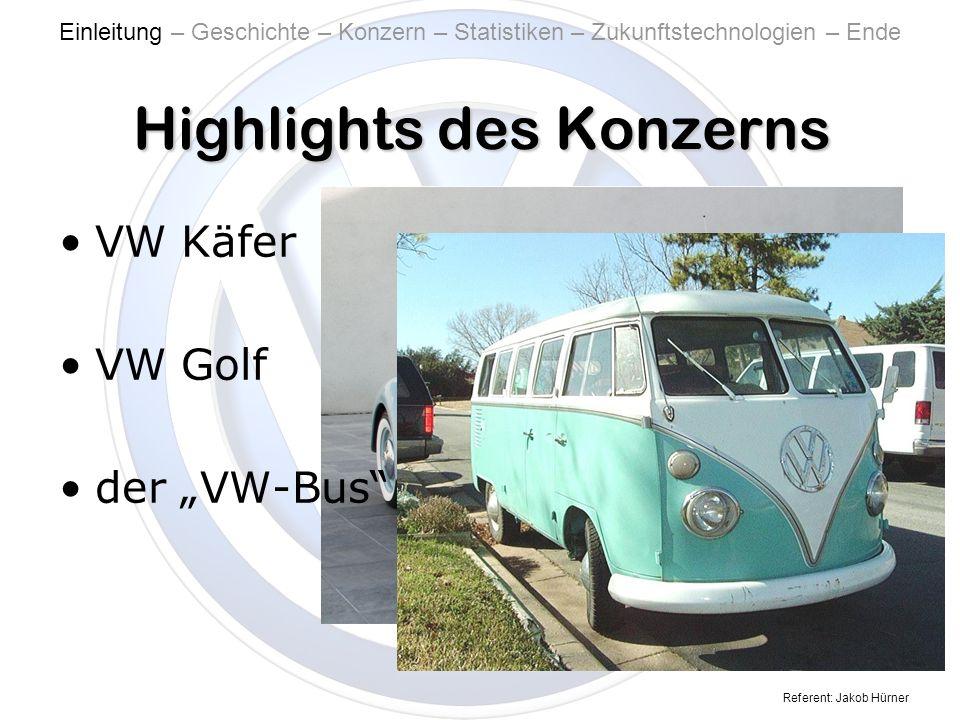Referent: Jakob Hürner Highlights des Konzerns VW Käfer VW Golf der VW-Bus Einleitung – Geschichte – Konzern – Statistiken – Zukunftstechnologien – Ende