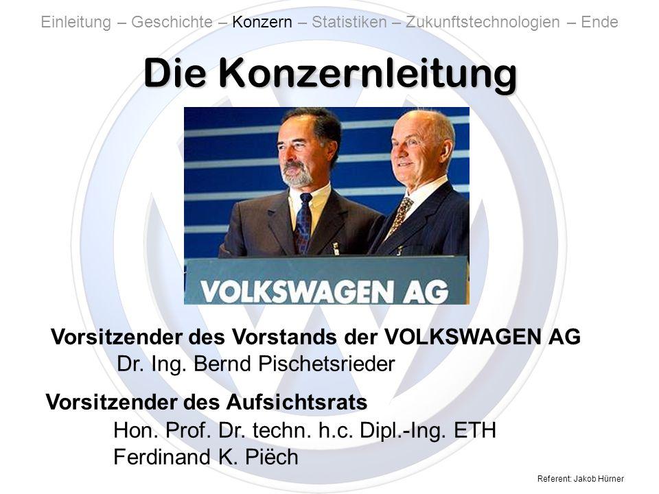 Referent: Jakob Hürner Die Konzernleitung Einleitung – Geschichte – Konzern – Statistiken – Zukunftstechnologien – Ende Vorsitzender des Vorstands der VOLKSWAGEN AG Dr.