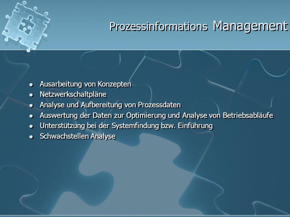 Prozessinformations Management Ausarbeitung von Konzepten Netzwerkschaltpläne Analyse und Aufbereitung von Prozessdaten Auswertung der Daten zur Optim