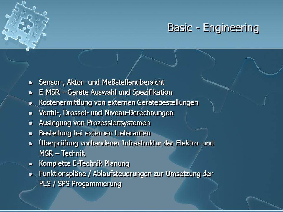 Basic - Engineering Sensor-, Aktor- und Meßstellenübersicht E-MSR – Geräte Auswahl und Spezifikation Kostenermittlung von externen Gerätebestellungen