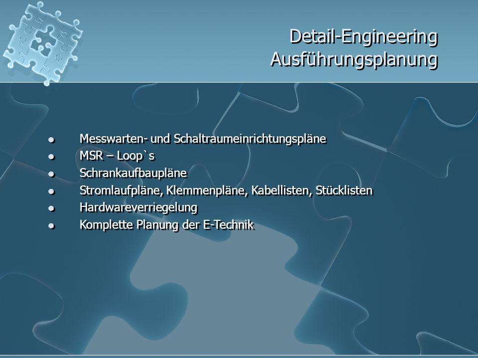 Detail-Engineering Ausführungsplanung Messwarten- und Schaltraumeinrichtungspläne MSR – Loop`s Schrankaufbaupläne Stromlaufpläne, Klemmenpläne, Kabell