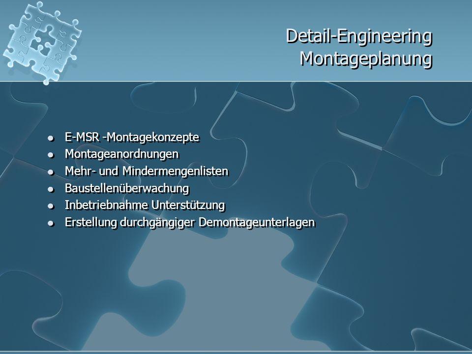 Detail-Engineering Montageplanung E-MSR -Montagekonzepte Montageanordnungen Mehr- und Mindermengenlisten Baustellenüberwachung Inbetriebnahme Unterstü