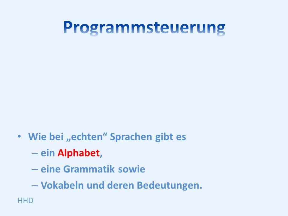 Wie bei echten Sprachen gibt es – ein Alphabet, – eine Grammatik sowie – Vokabeln und deren Bedeutungen.