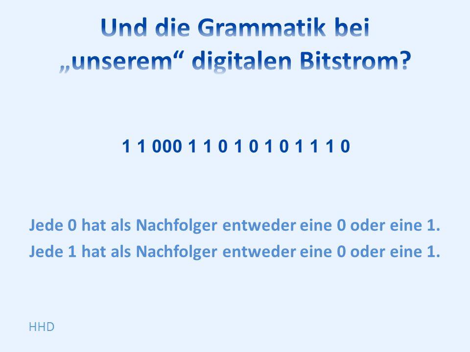 1 1 000 1 1 0 1 0 1 0 1 1 1 0 Jede 0 hat als Nachfolger entweder eine 0 oder eine 1.