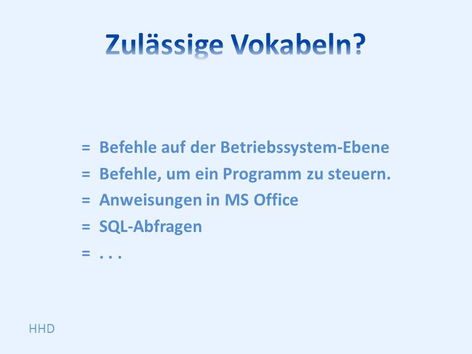 =Befehle auf der Betriebssystem-Ebene =Befehle, um ein Programm zu steuern.