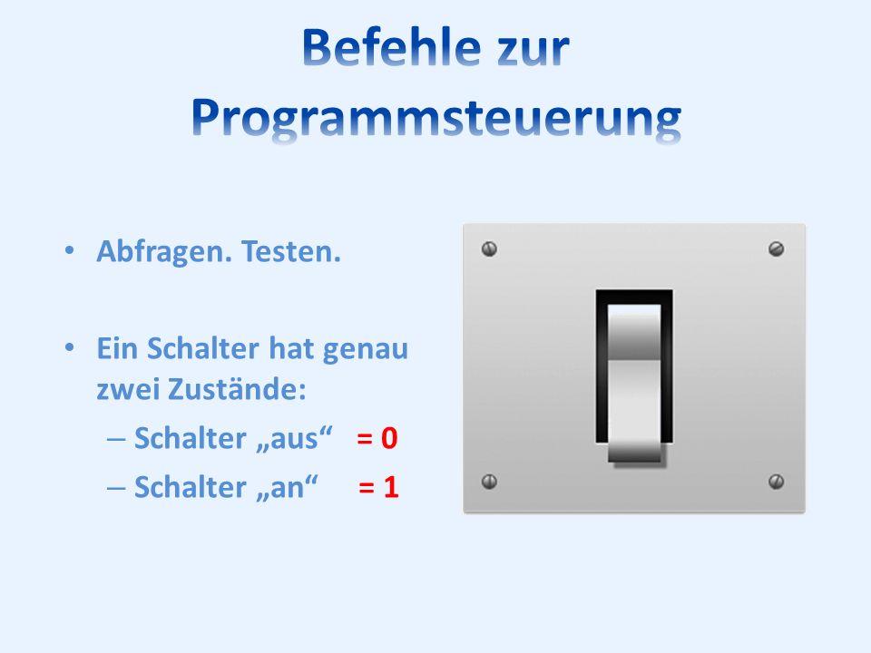 Abfragen. Testen. Ein Schalter hat genau zwei Zustände: – Schalter aus = 0 – Schalter an = 1