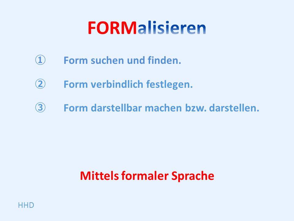 HHD Form suchen und finden. Form verbindlich festlegen.