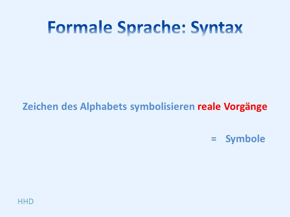 Zeichen des Alphabets symbolisieren reale Vorgänge =Symbole HHD