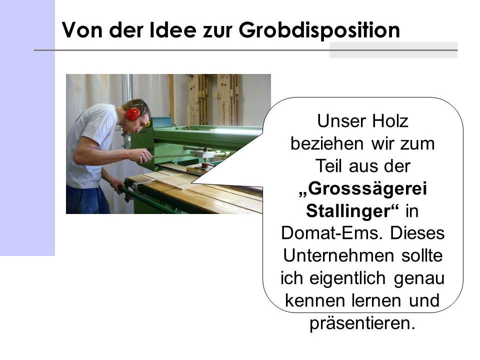 Von der Idee zur Grobdisposition Unser Holz beziehen wir zum Teil aus der Grosssägerei Stallinger in Domat-Ems. Dieses Unternehmen sollte ich eigentli