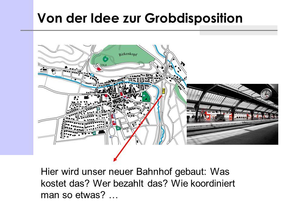 Von der Idee zur Grobdisposition Hier wird unser neuer Bahnhof gebaut: Was kostet das? Wer bezahlt das? Wie koordiniert man so etwas? …