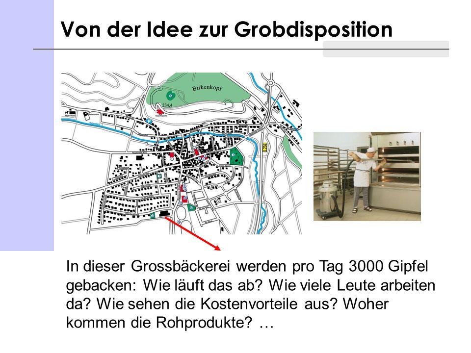 Von der Idee zur Grobdisposition In dieser Grossbäckerei werden pro Tag 3000 Gipfel gebacken: Wie läuft das ab? Wie viele Leute arbeiten da? Wie sehen