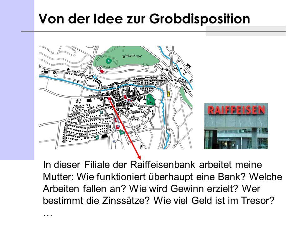 Von der Idee zur Grobdisposition In dieser Filiale der Raiffeisenbank arbeitet meine Mutter: Wie funktioniert überhaupt eine Bank? Welche Arbeiten fal