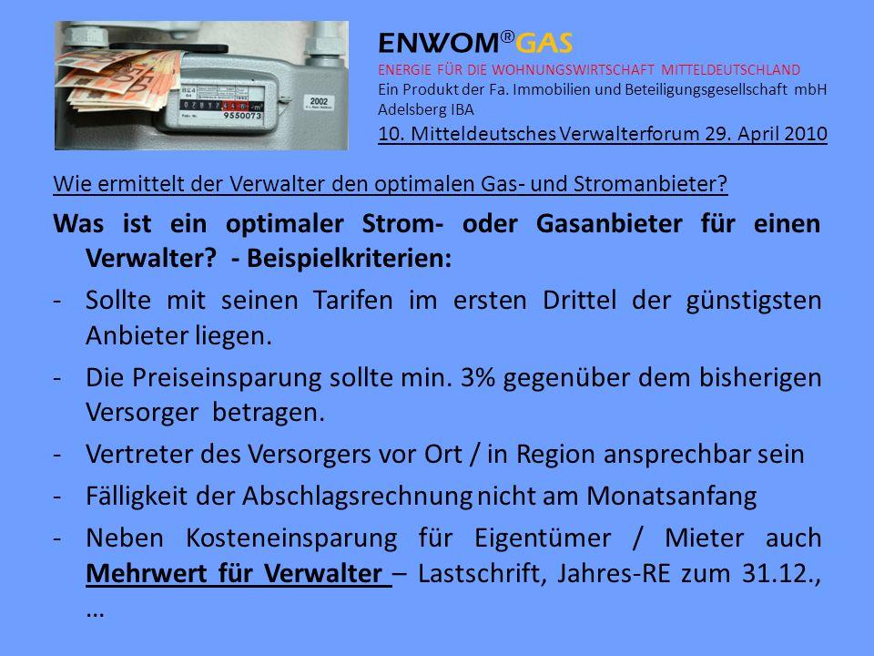 ENWOM ® GAS ENERGIE FÜR DIE WOHNUNGSWIRTSCHAFT MITTELDEUTSCHLAND Ein Produkt der Fa.