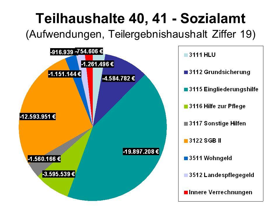 Teilhaushalte 40, 41 - Sozialamt (Aufwendungen, Teilergebnishaushalt Ziffer 19)
