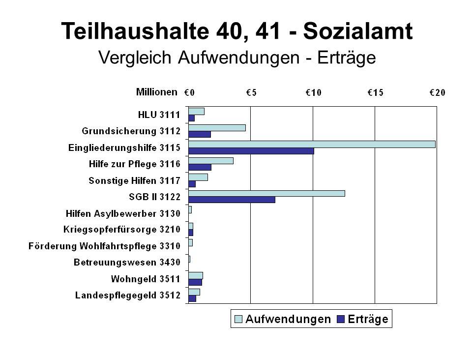Teilhaushalte 40, 41 - Sozialamt Vergleich Aufwendungen - Erträge