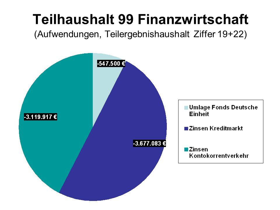 Teilhaushalt 99 Finanzwirtschaft (Aufwendungen, Teilergebnishaushalt Ziffer 19+22)