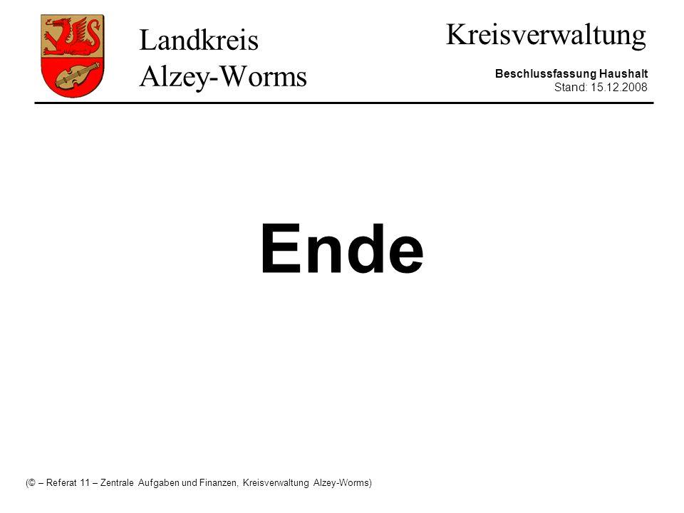 Landkreis Alzey-Worms Kreisverwaltung Beschlussfassung Haushalt Stand: 15.12.2008 Ende (© – Referat 11 – Zentrale Aufgaben und Finanzen, Kreisverwaltu