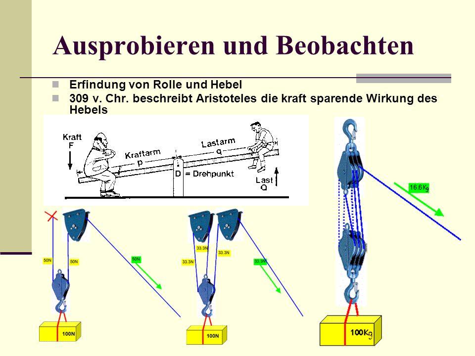 Ausprobieren und Beobachten Erfindung von Rolle und Hebel 309 v. Chr. beschreibt Aristoteles die kraft sparende Wirkung des Hebels