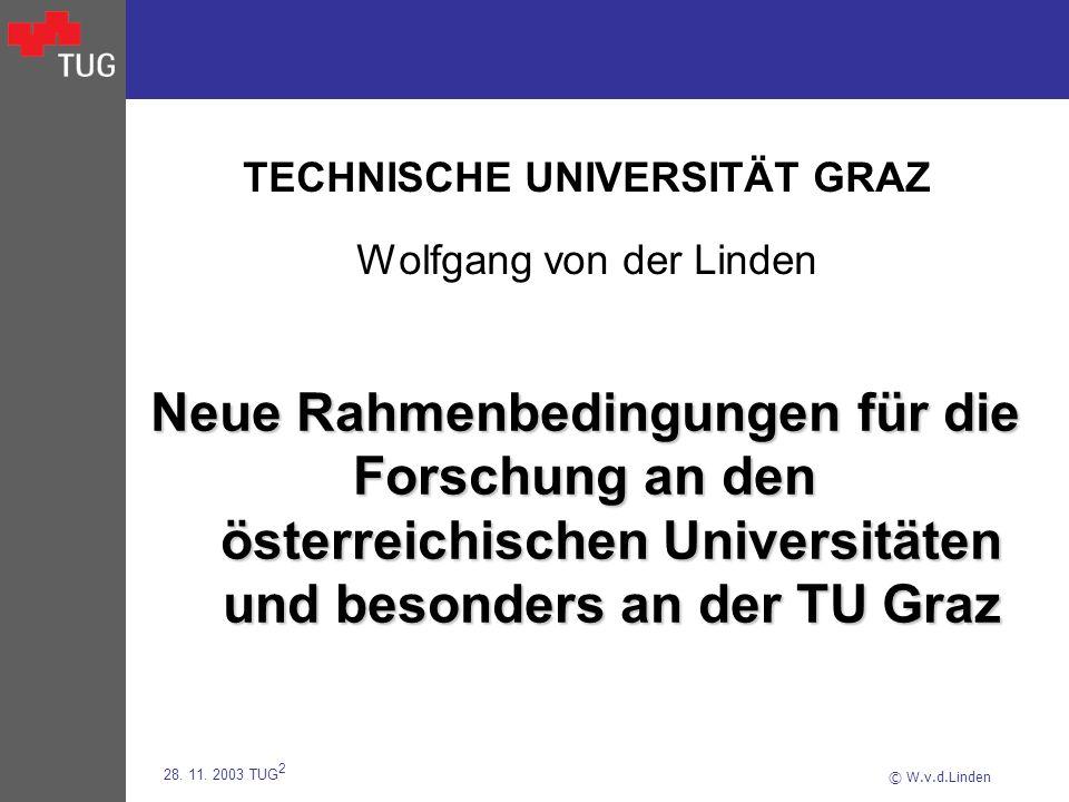 © W.v.d.Linden 28. 11. 2003 TUG 2 TECHNISCHE UNIVERSITÄT GRAZ Wolfgang von der Linden Neue Rahmenbedingungen für die Forschung an den österreichischen