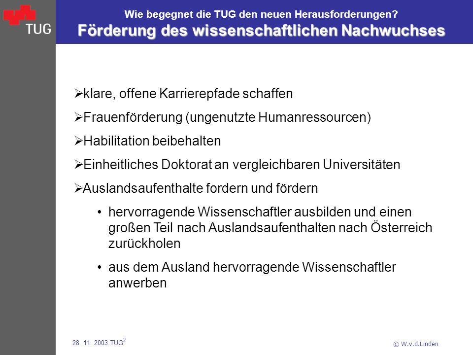 © W.v.d.Linden 28. 11. 2003 TUG 2 Förderung des wissenschaftlichen Nachwuchses Wie begegnet die TUG den neuen Herausforderungen? Förderung des wissens