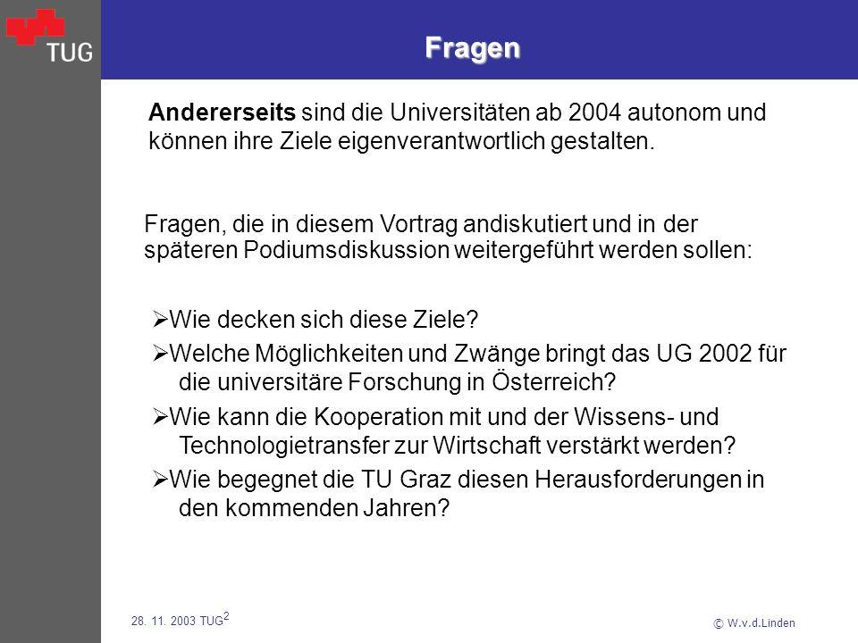 © W.v.d.Linden 28. 11. 2003 TUG 2 Fragen Andererseits sind die Universitäten ab 2004 autonom und können ihre Ziele eigenverantwortlich gestalten. Wie