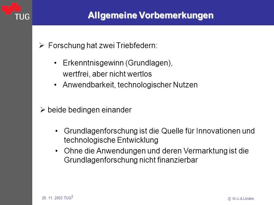 © W.v.d.Linden 28. 11. 2003 TUG 2 Allgemeine Vorbemerkungen Forschung hat zwei Triebfedern: Erkenntnisgewinn (Grundlagen), wertfrei, aber nicht wertlo