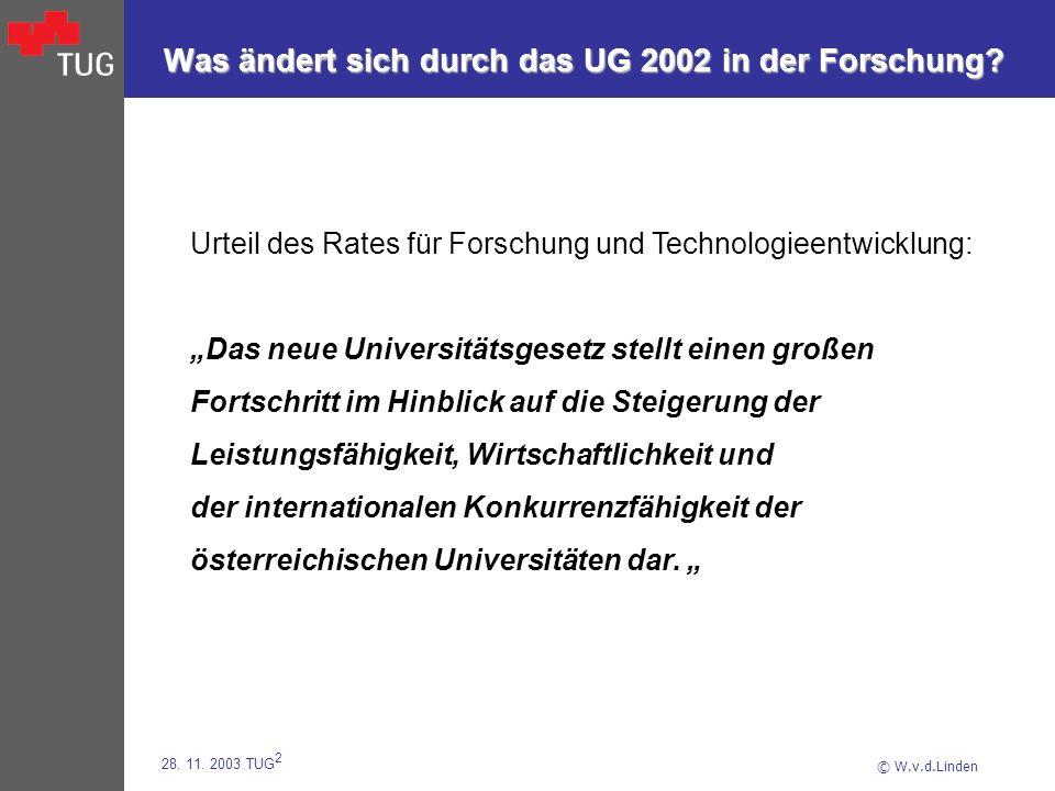 © W.v.d.Linden 28. 11. 2003 TUG 2 Was ändert sich durch das UG 2002 in der Forschung? Urteil des Rates für Forschung und Technologieentwicklung: Das n